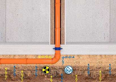 Radonsikring til gennemføring - KGfix monteret på rør